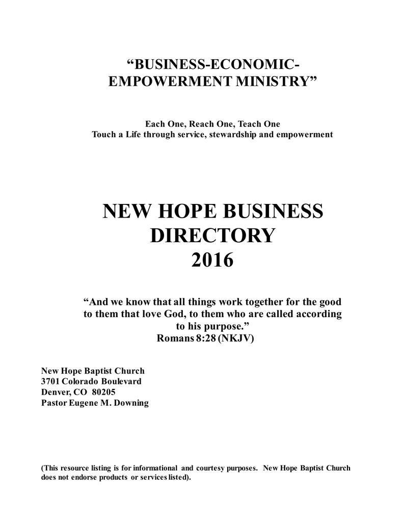 View/Download PDF File - New Hope Baptist Church, Denver
