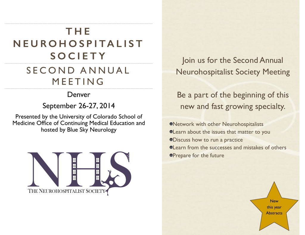 NHS 2014 invite pages - American Academy of Neurology