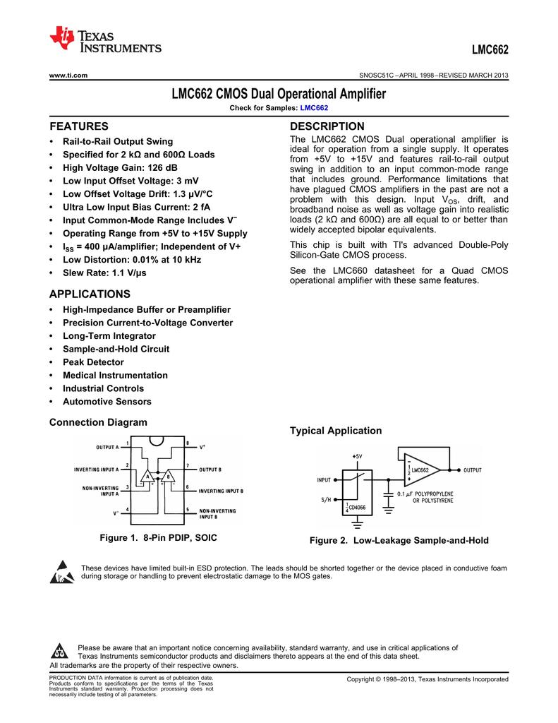Lmc662 Cmos Dual Operational Amplifier Rev C Circuit Audio Preamplifier Integrated Lm358 Op Amp
