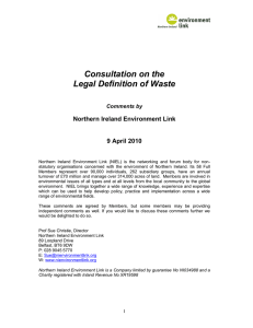 Consultation on the Legal Definition of Waste