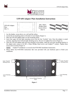 UFP-650 Adapter Plate Installation Instructions