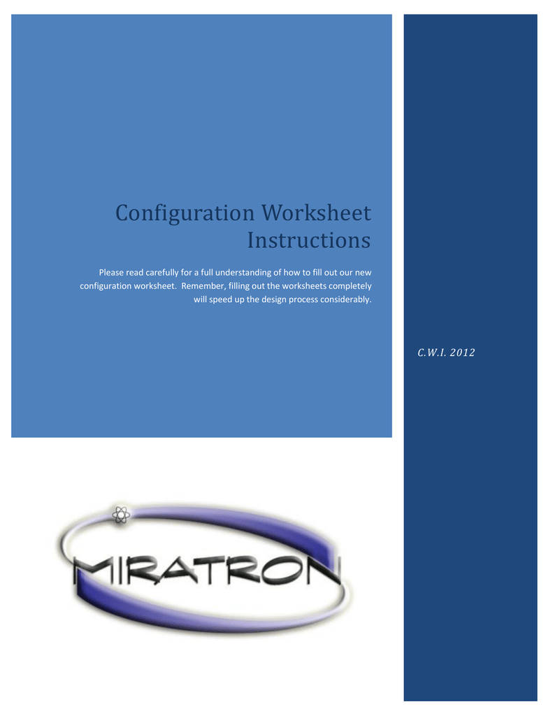 Configuration Worksheet Instructions