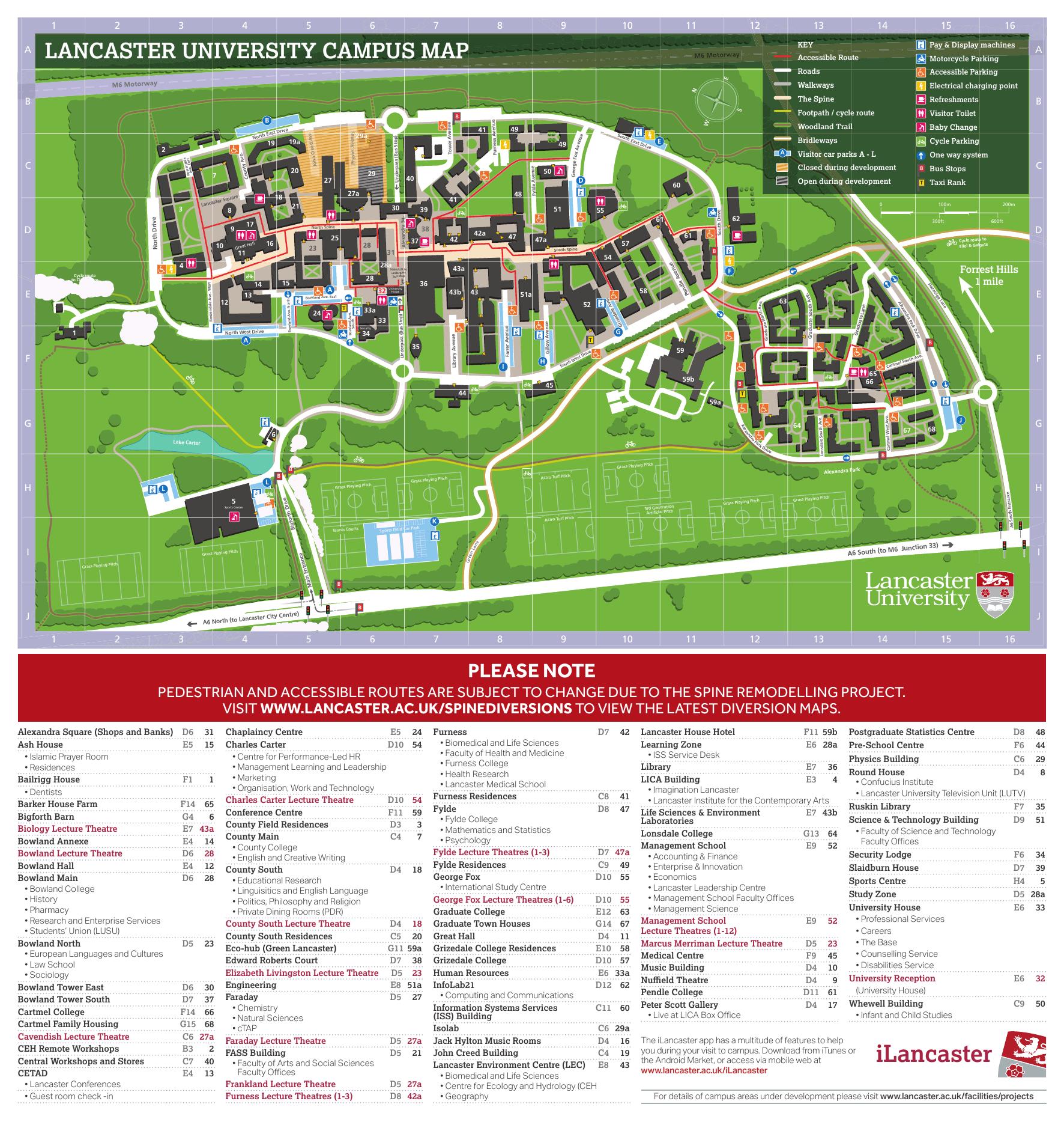 Lancaster Campus Map Campus Map   Lancaster University