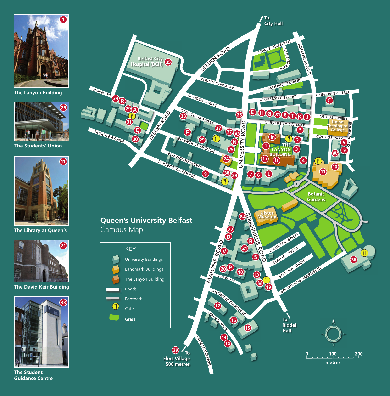 Queen\\\\\\\'s University Campus Map Queen`s University Belfast Campus Map