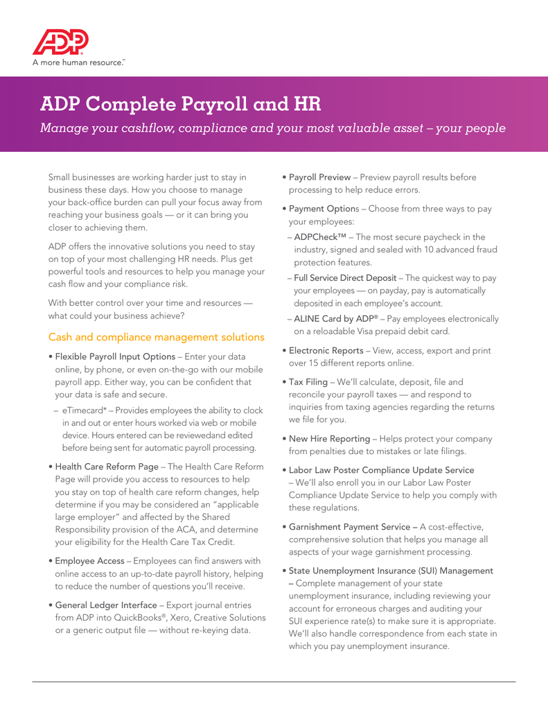 ADP Complete Payroll and HR