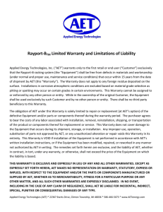Rayport-BTM Limited Warranty and Limitations of Liability