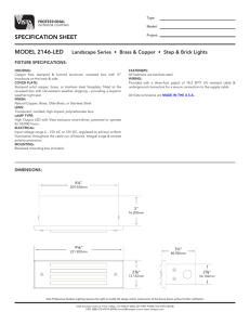 specification sheet - Vista Professional Outdoor Lighting