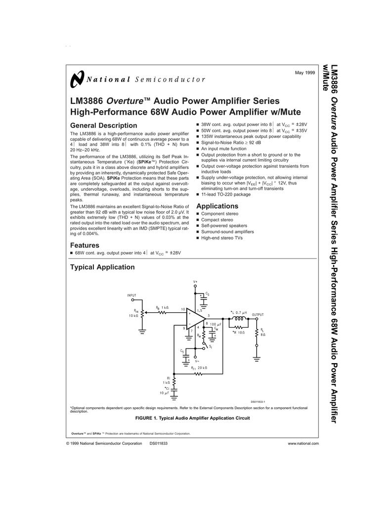 Lm3886 High Performance 68w Audio Power Amplifier W Mute 260w Circuit Design
