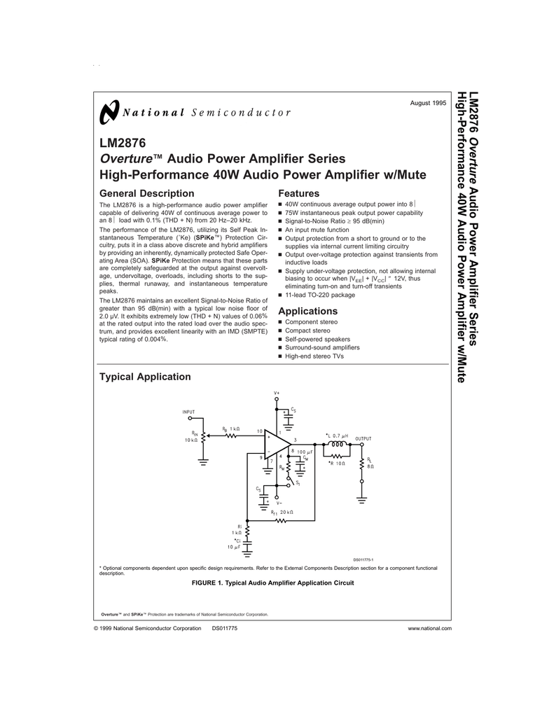Lm2876 Overture Audio Power Amplifier Series High Circuit But Have A Performance Amplifiers This