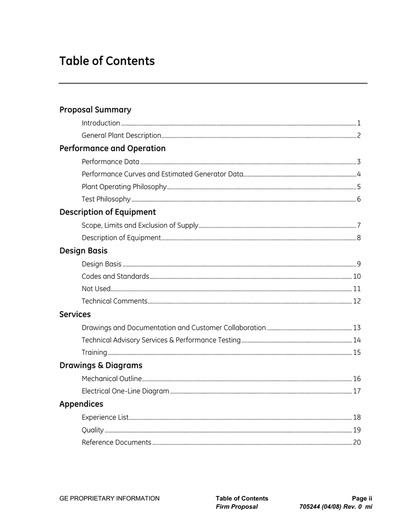 Table of Contents - Centrales de la Costa