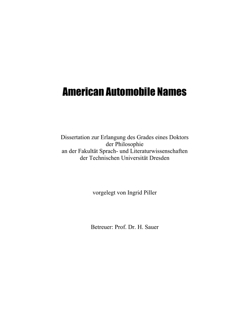 American Automobile Names