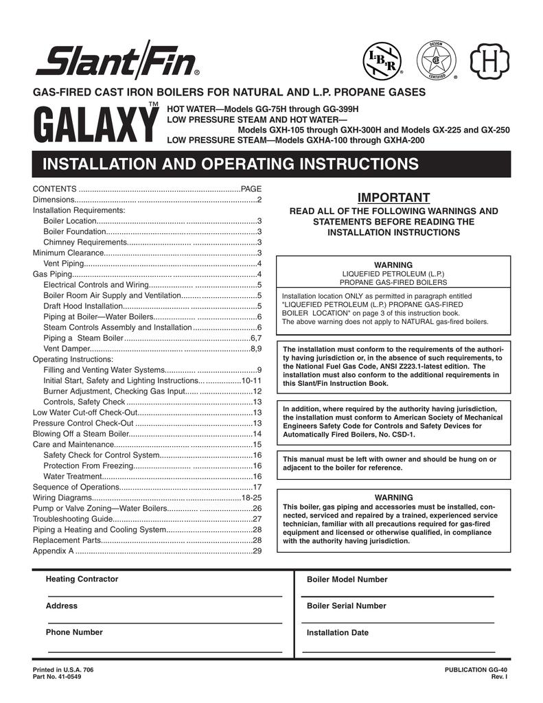 Galaxy Slant Fin Boiler Wiring Diagram