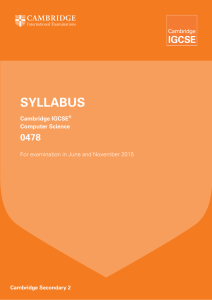 IGCSE Computer Science syllabus
