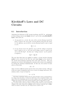Kirchhoff`s Laws and DC Circuits