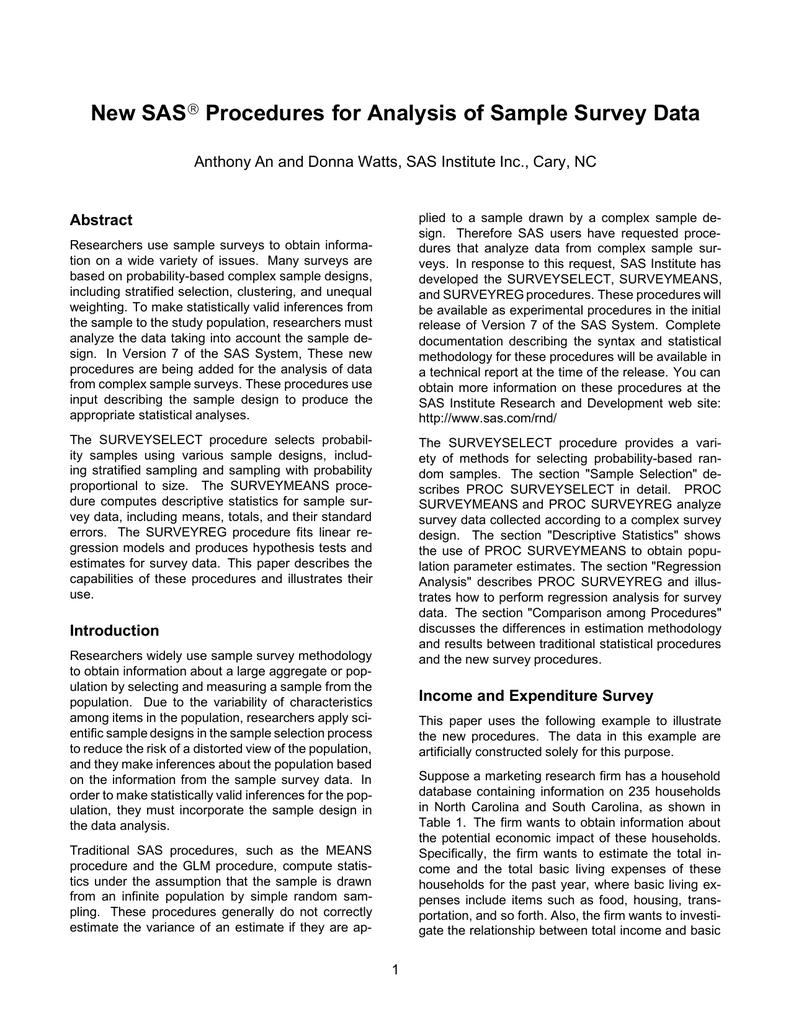 New SAS Procedures for Analysis of Sample Survey Data
