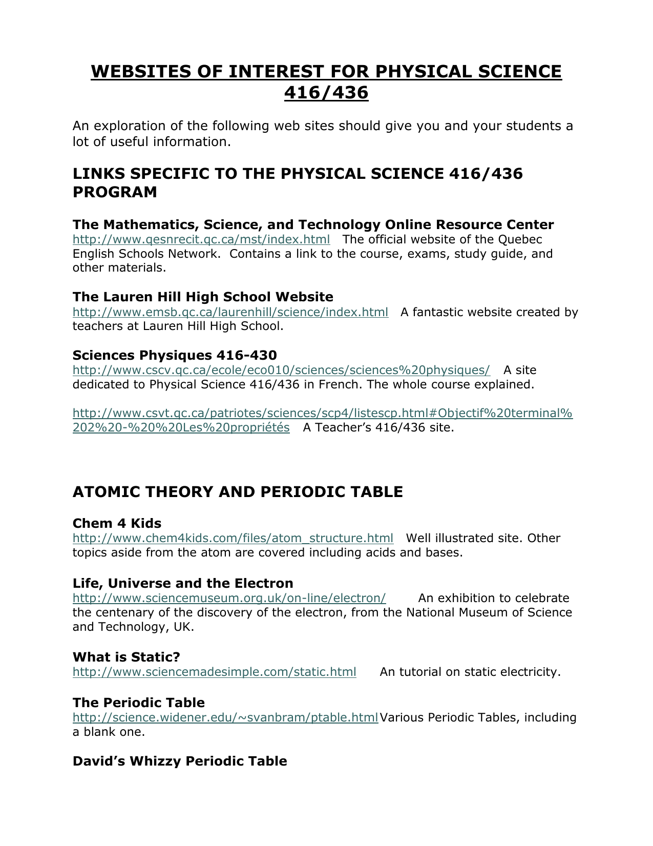 websites of interest for physical science 416/436