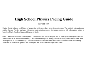 High School Physics Pacing Guide