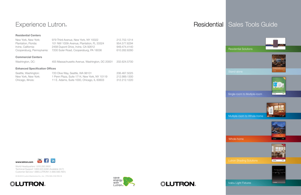 Residential Sales Tools Guide Experience Lutron