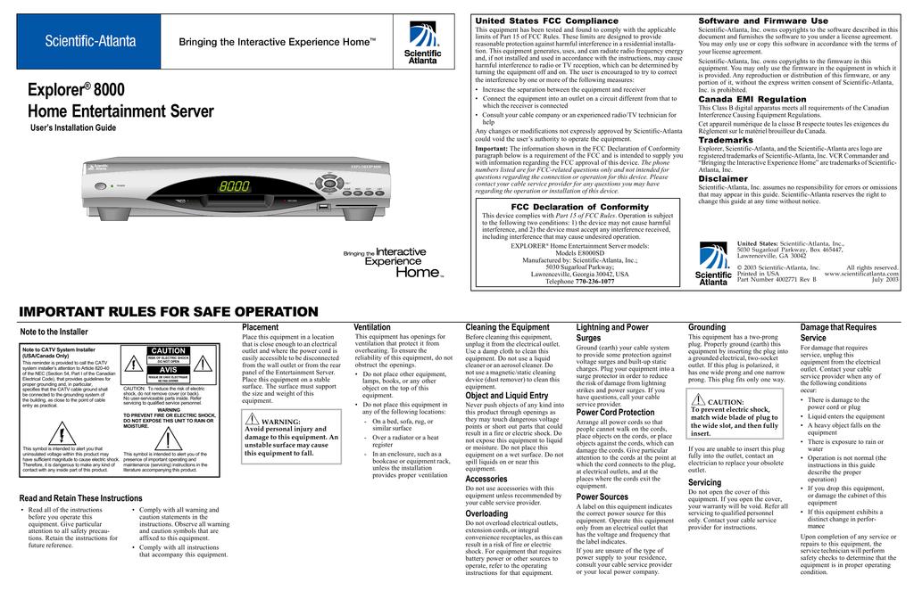 Time Warner Cable Outlet Installation: Explorer 8000 - Time Warner Cablerh:studylib.net,Design