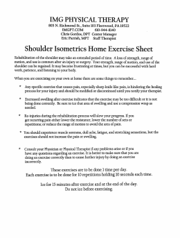 Shoulder Isometric Exercises