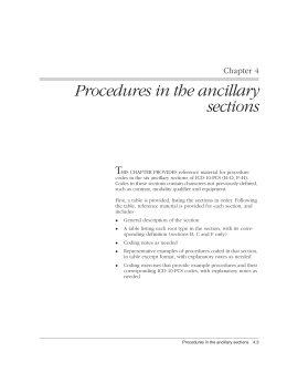 Procedures in the ancillary sections