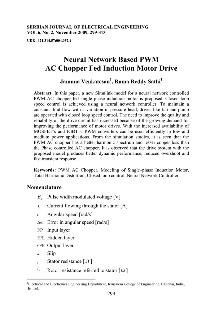 Neural Network Based Pwm Ac Chopper Fed Induction Motor
