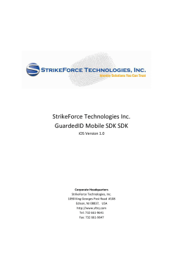 GuardedID Mobile_SDK - StrikeForce Technologies, Inc