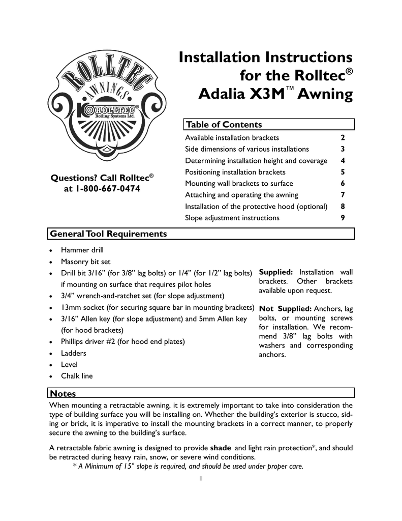 Installation Instructions for the Rolltec® Adalia X3M™ Awning