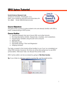SPSS Sytax Tutorial - American University
