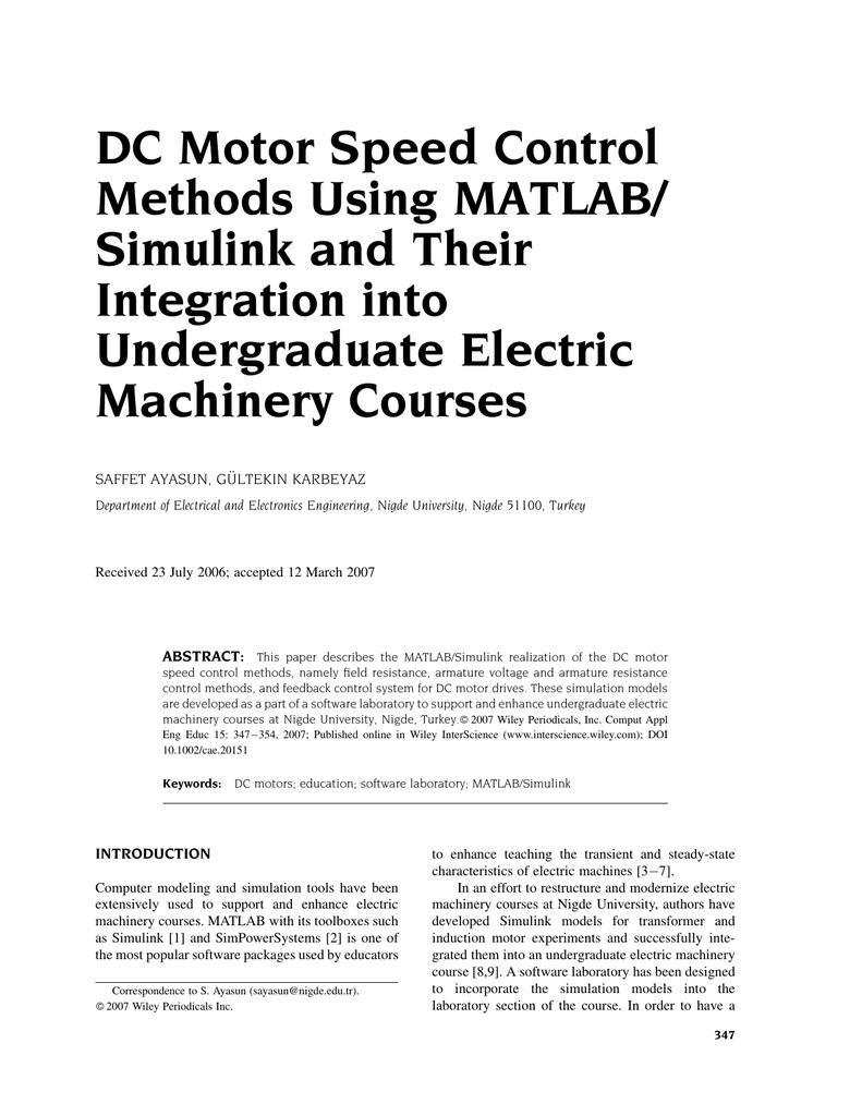 DC motor speed control methods using MATLAB/Simulink and their