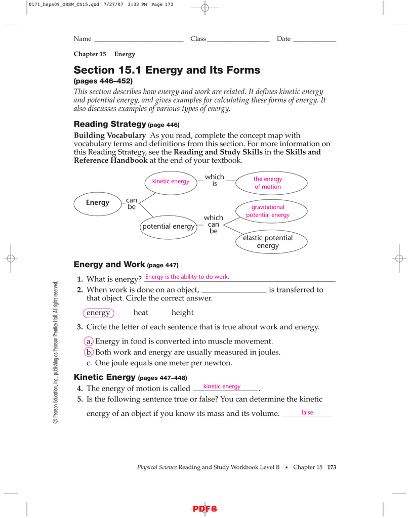Worksheets Prentice Hall Physical Science Worksheets section 15 1 energy and its forms ipls