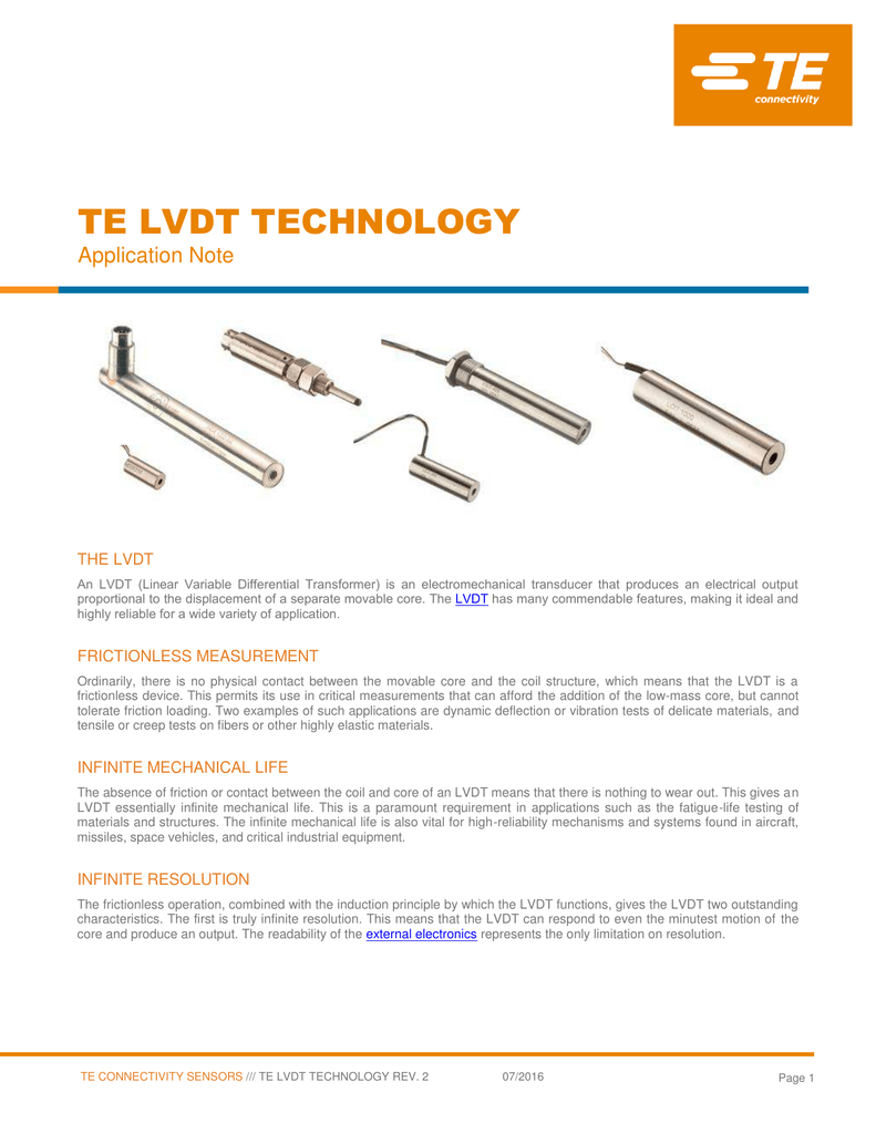 Lvdt Technology Te Connectivity Wiring Diagram