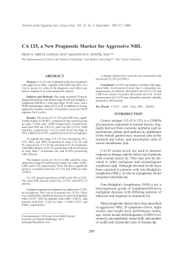 CA 125, a New Prognostic Marker for Aggressive NHL