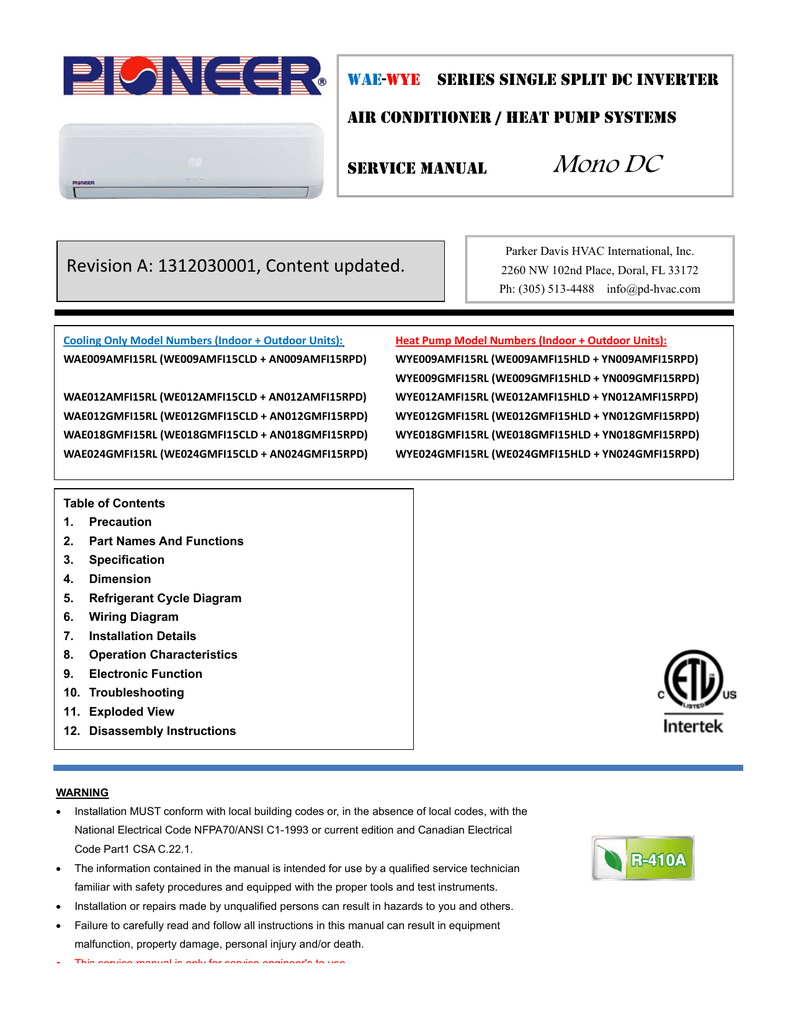 Service Manual For Pioneer Wae Wye 15 Seer Mini Split Inverter