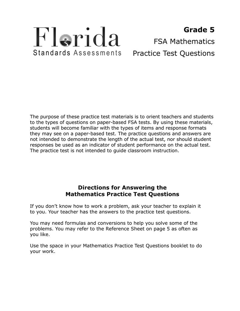 Grade 5 FSA Mathematics Practice Test Questions