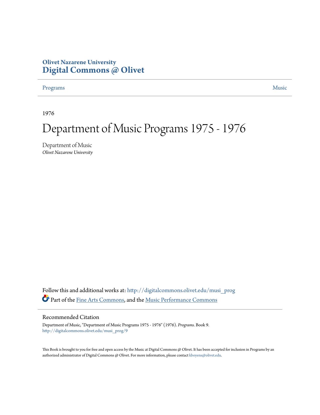 Department Of Music Programs 1975 1976
