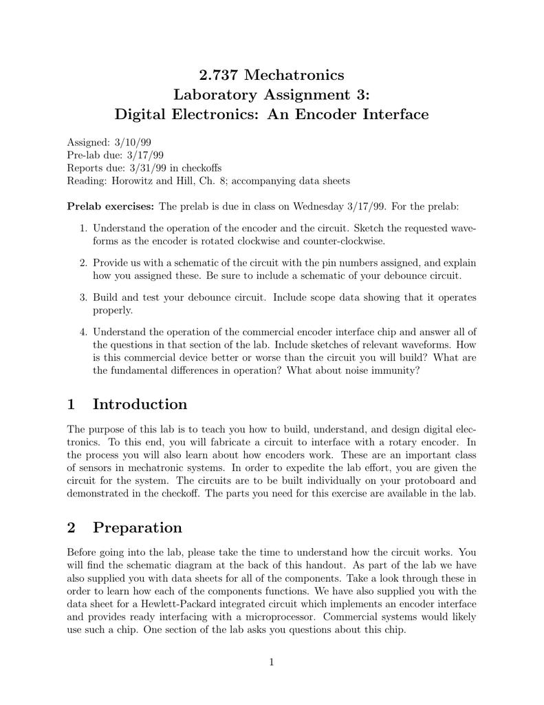 2737 Mechatronics Laboratory Assignment 3 Debounce Circuit Schematic