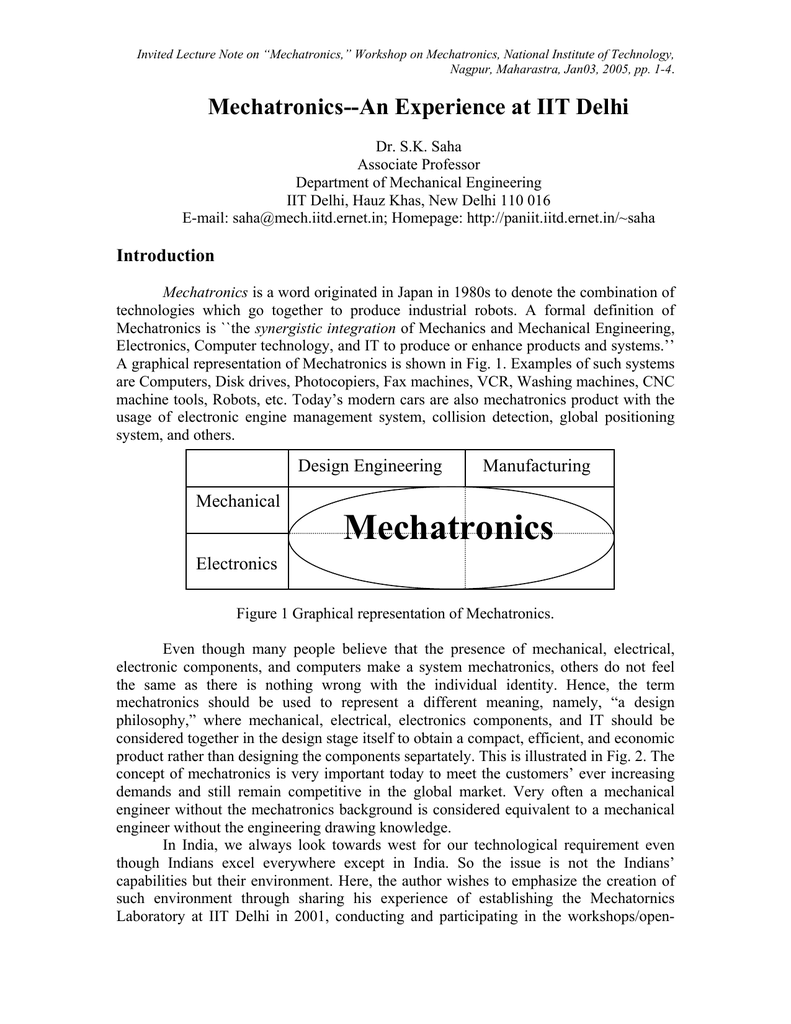 Invited Lecture Note On Mechatronics