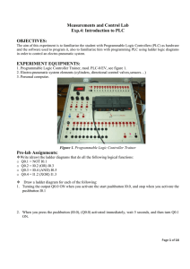 Measurements and Control Lab Exp.4: Introduction to PLC