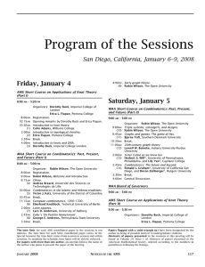 Program of the Sessions - American Mathematical Society