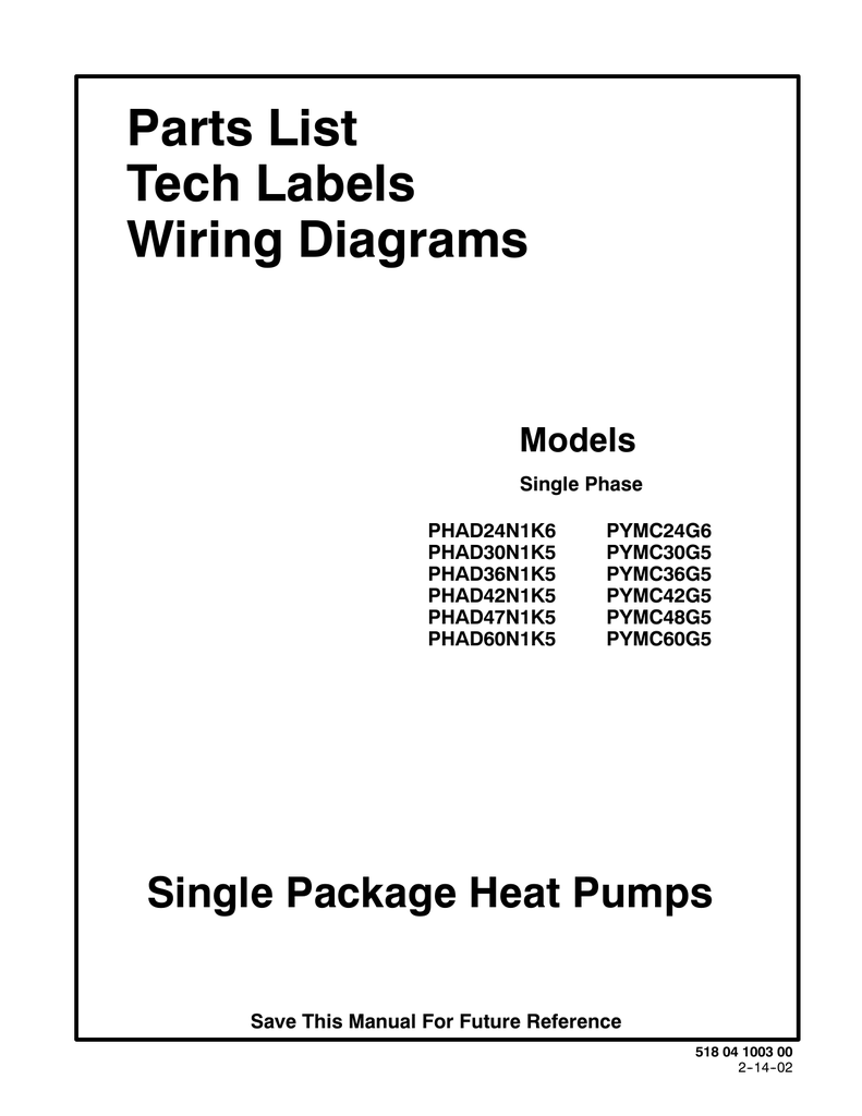 Parts List Tech Labels Wiring Diagrams Single Package Heat