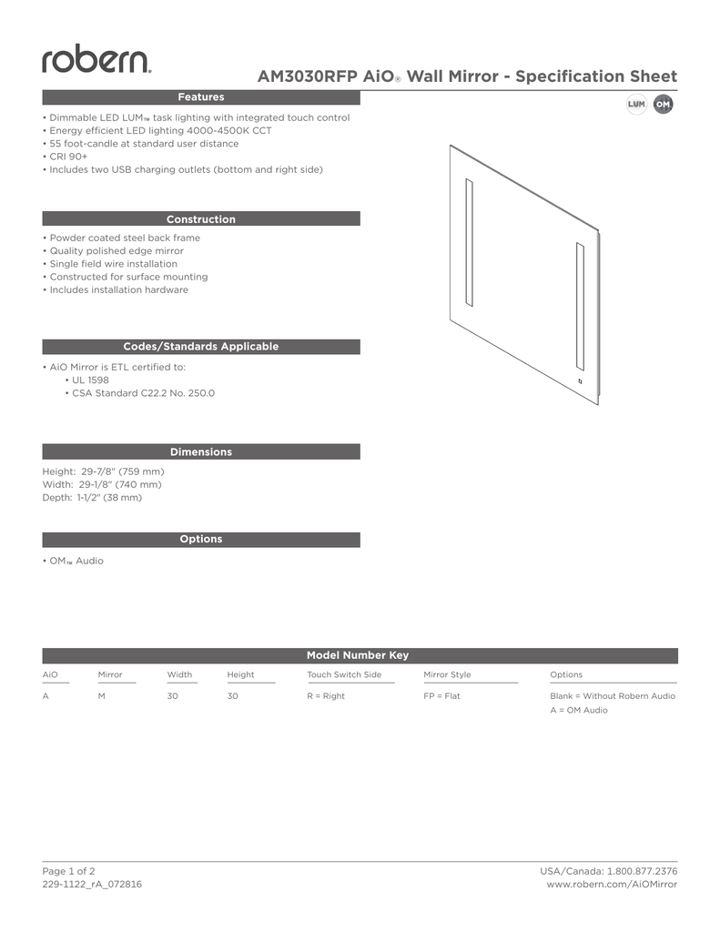 Am3030rfp Aio Wall Mirror Specification Sheet