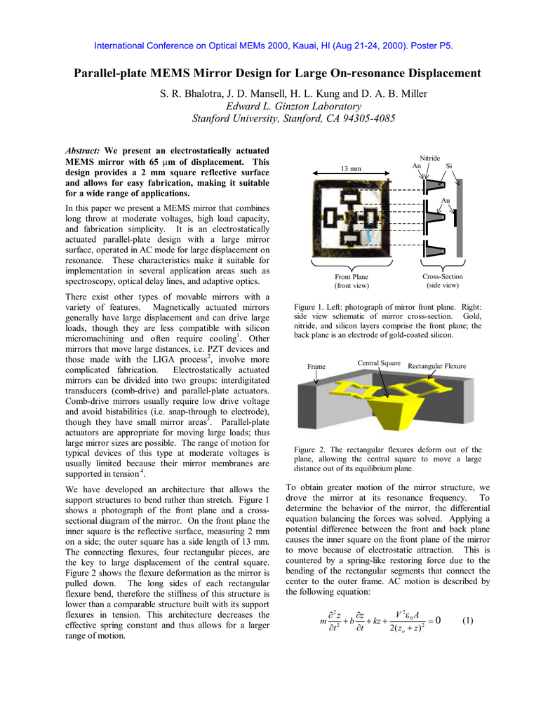 Parallel-plate MEMS Mirror Design for Large On