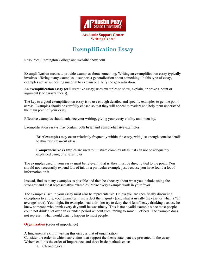 Exemplification essay examples