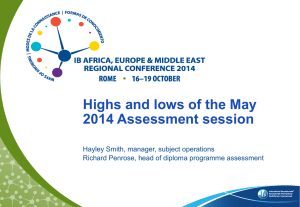 Highs and lows of the May 2014 Assessment session