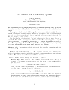 Ford-Fulkerson Max Flow Labeling Algorithm
