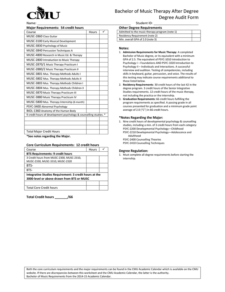 Cmu Academic Calendar.Bachelor Of Music Therapy After Degree Degree Audit Form