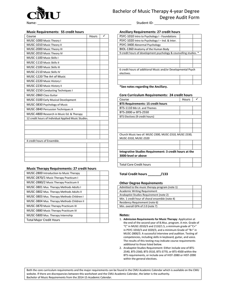 Cmu Academic Calendar.Bachelor Of Music Therapy 4 Year Degree Degree Audit Form
