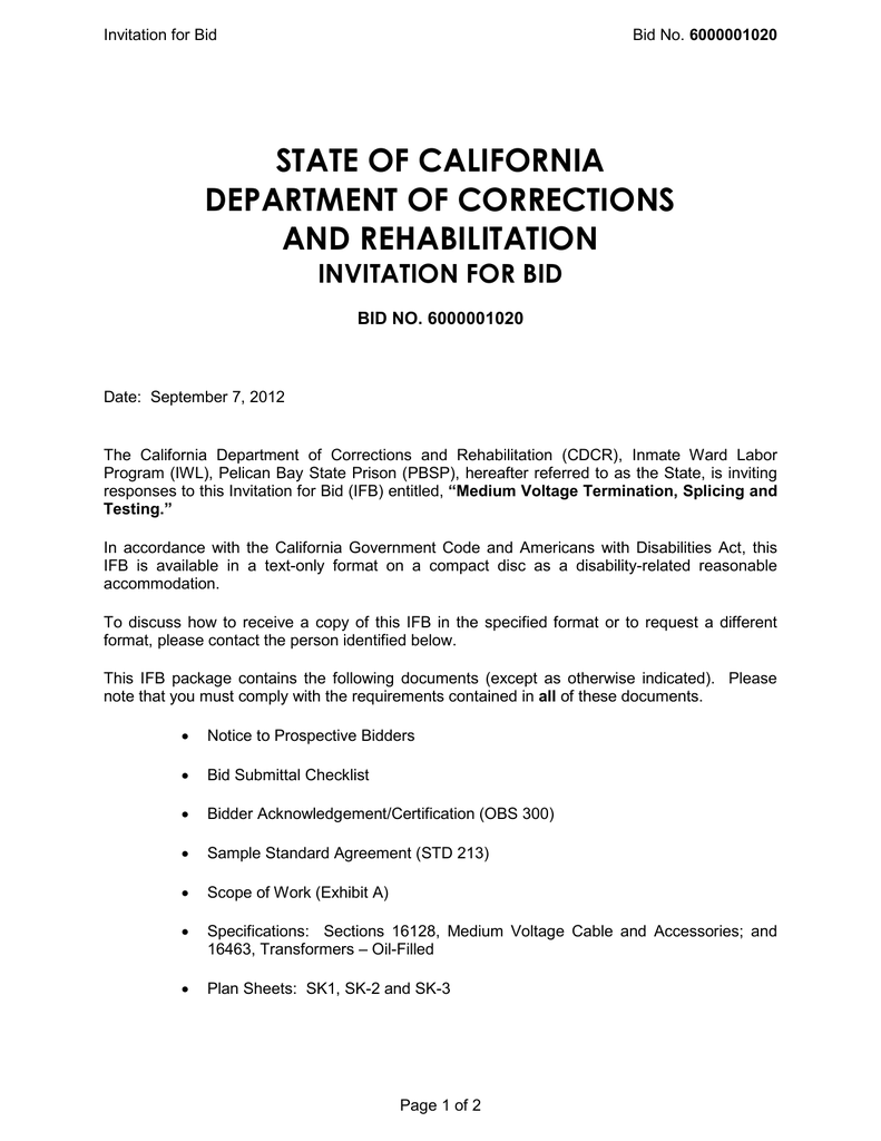state of california department of corrections and