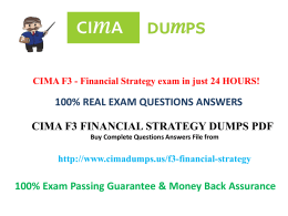 How to pass cima f3 exam question Dumps in first attempt ? - Cimadumps.us